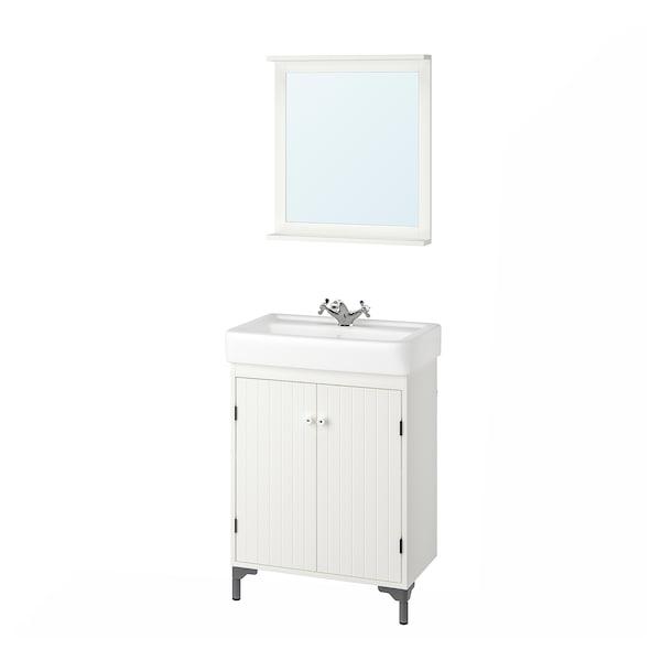 SILVERÅN / HAMNVIKEN kylpyhuoneen kalusteet, 5 osaa valkoinen/RUNSKÄR-hana 63 cm