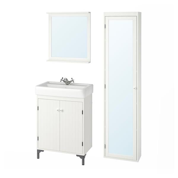 SILVERÅN / HAMNVIKEN kylpyhuoneen kalusteet, 6 kpl valkoinen/RUNSKÄR-hana 63 cm