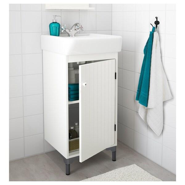 SILVERÅN / HAMNVIKEN allaskaappi 1 ovi valkoinen/RUNSKÄR-hana 43 cm 40 cm 45 cm 90.5 cm