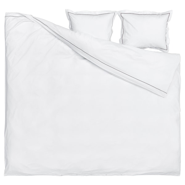 SILVERTISTEL Pussilakana ja 2 tyynyliinaa, valkoinen/tummanharmaa, 240x220/50x60 cm
