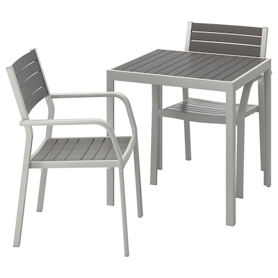 SJÄLLAND Pöytä+2 nojatuolia, ulkokäyttöön, tummanharmaa/vaaleanharmaa, 71x71x73 cm