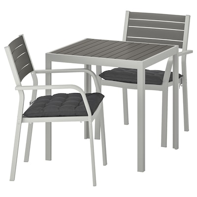 SJÄLLAND pöytä+2 nojatuolia, ulkokäyttöön tummanharmaa/Hållö musta 71 cm 71 cm 73 cm