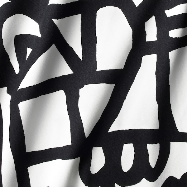SKUGGBRÄCKA Kangas, valkoinen/musta, 150 cm