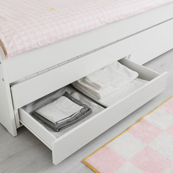 SLÄKT sängynrunko+alasänky+säilytystila valkoinen 100 kg 206 cm 96 cm 90 cm 57 cm 56 cm 78 cm 193 cm 200 cm 90 cm
