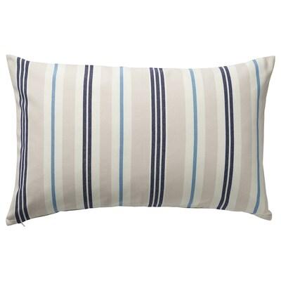 SMALSTÄKRA Tyynynpäällinen, beige/sininen/raidallinen, 40x65 cm