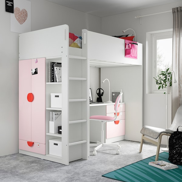 SMÅSTAD Parvisänky, valkoinen haaleanroosa/ja työpöytä ja 4 laatikkoa, 90x200 cm