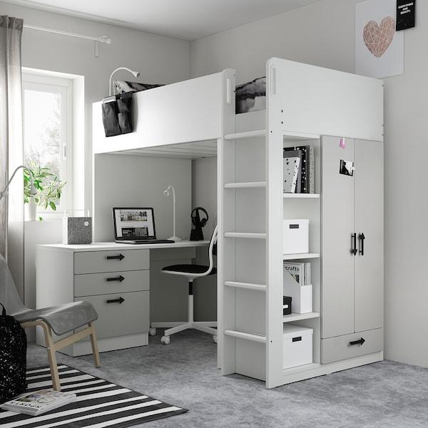 SMÅSTAD Parvisänky, valkoinen harmaa/ja työpöytä ja 4 laatikkoa, 90x200 cm