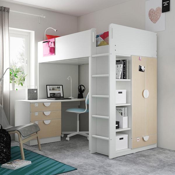 SMÅSTAD Parvisänky, valkoinen koivu/ja työpöytä ja 4 laatikkoa, 90x200 cm