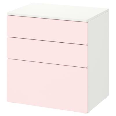 SMÅSTAD / PLATSA Lipasto, 3 laatikkoa, valkoinen/haaleanroosa, 60x42x63 cm