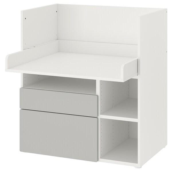 SMÅSTAD Työpöytä, valkoinen harmaa/ja 2 laatikkoa, 90x79x100 cm