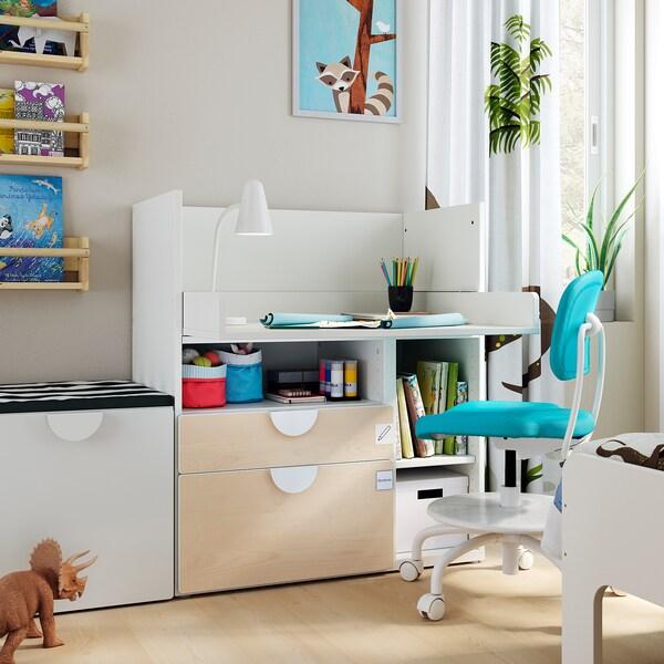 SMÅSTAD Työpöytä, valkoinen koivu/ja 2 laatikkoa, 90x79x100 cm