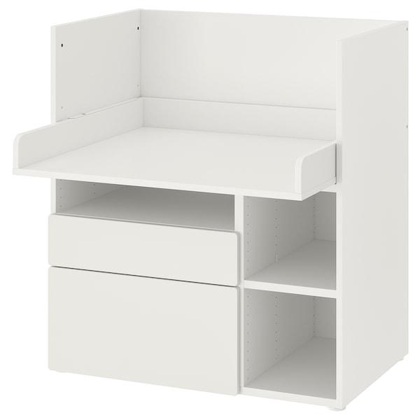 SMÅSTAD Työpöytä, valkoinen valkoinen/ja 2 laatikkoa, 90x79x100 cm