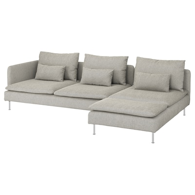 SÖDERHAMN 4:n istuttava sohva, divaanilla ja avoin pääty/Viarp beige/ruskea