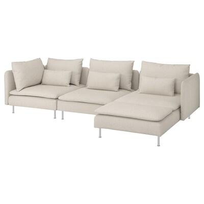 SÖDERHAMN 4:n istuttava sohva, divaanin kanssa/Gunnared beige
