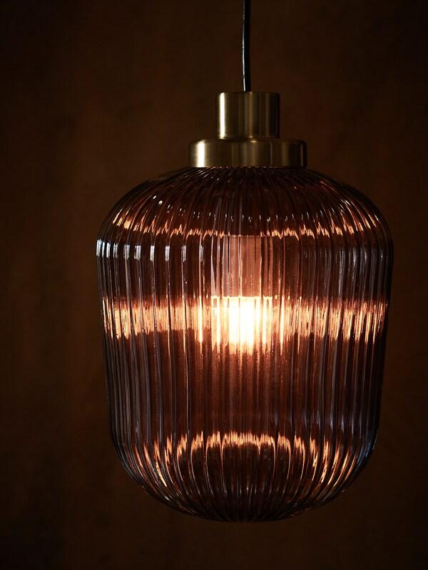 SOLKLINT Kattovalaisin, messinki/harmaa lasi, 22 cm