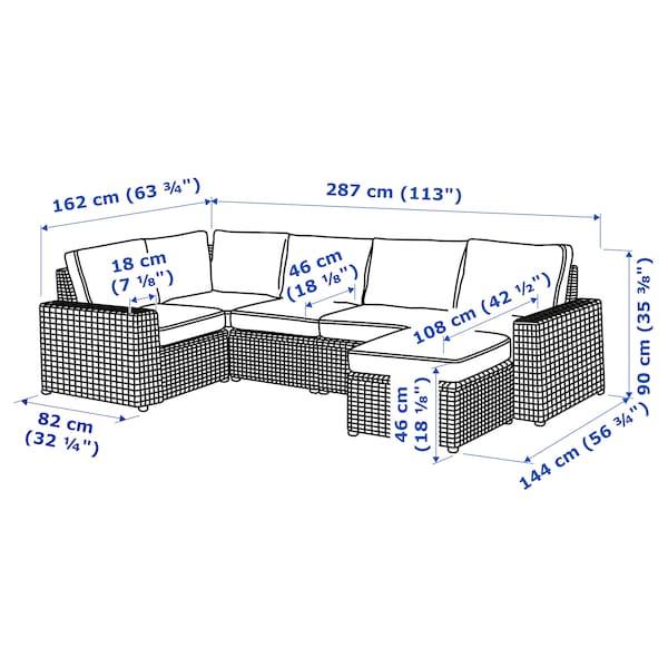 SOLLERÖN 4:n ist moduulikulmasohva, ulkok, rahin kanssa tummanharmaa/Järpön/Duvholmen antrasiitti