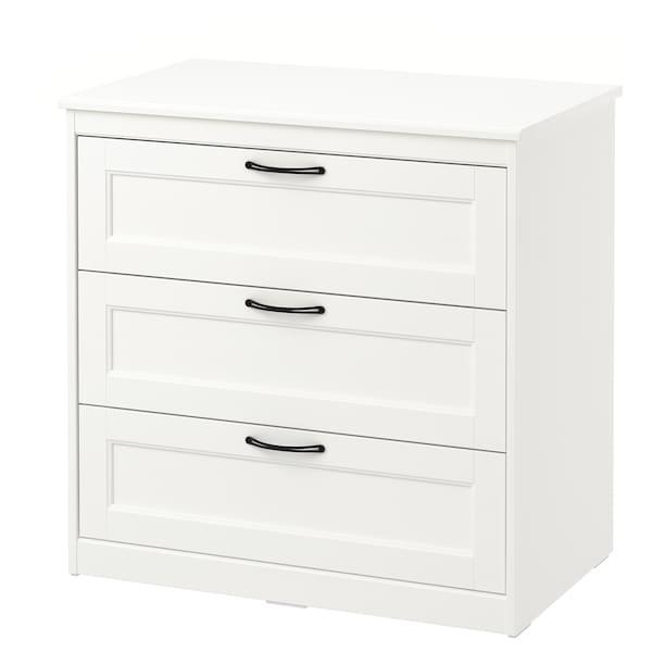 SONGESAND Lipasto, 3 laatikkoa, valkoinen, 82x81 cm