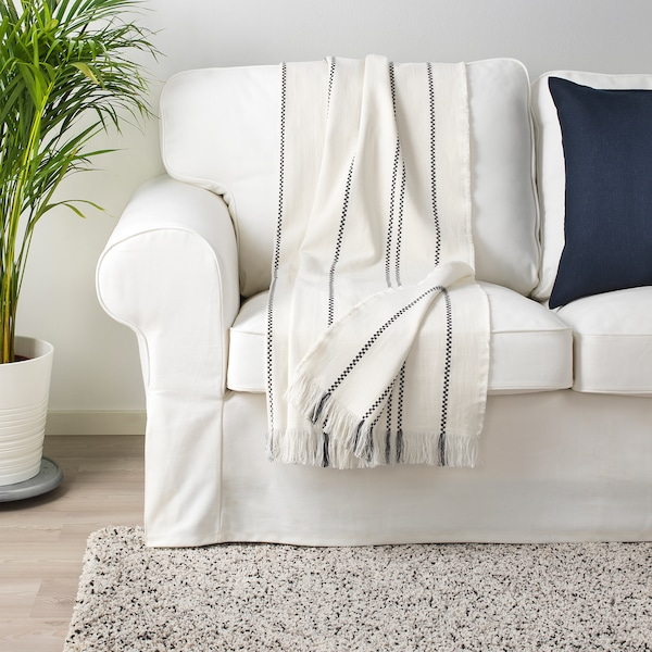 STINAMAJ huopa valkoinen/tummanharmaa 170 cm 130 cm