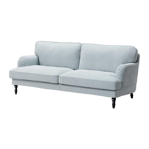 STOCKSUND 3:n istuttava sohva - Remvallen sininen/valkoinen, musta - IKEA