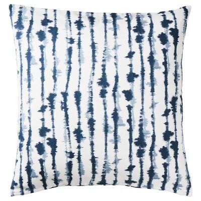 STRIMSPORRE Tyynynpäällinen, valkoinen/sininen, 50x50 cm