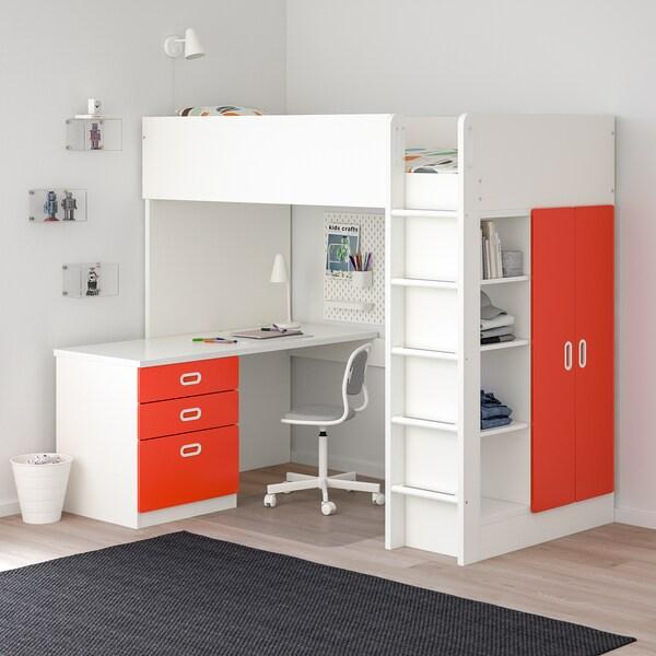 STUVA / FRITIDS parvisänkykokon, 3 laatik/2 ov valkoinen/punainen 155 cm 62 cm 74 cm 182 cm 142 cm 99 cm 207 cm 100 kg 200 cm 90 cm 20 cm