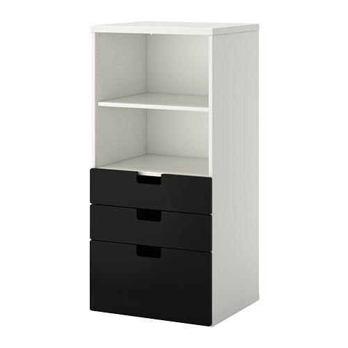 STUVA Säilytyskokonaisuus+laatikot  valkoinen musta  IKEA