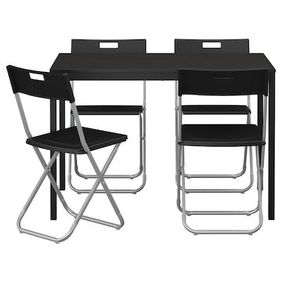 TÄRENDÖ / GUNDE Pöytä + 4 tuolia, musta, 110 cm