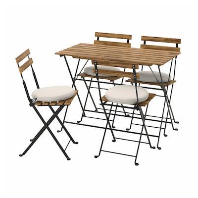 TÄRNÖ Ulkokalustesetti (pöytä/4 tuolia), musta / vaaleanruskeaksi petsattu/Frösön/Duvholmen beige