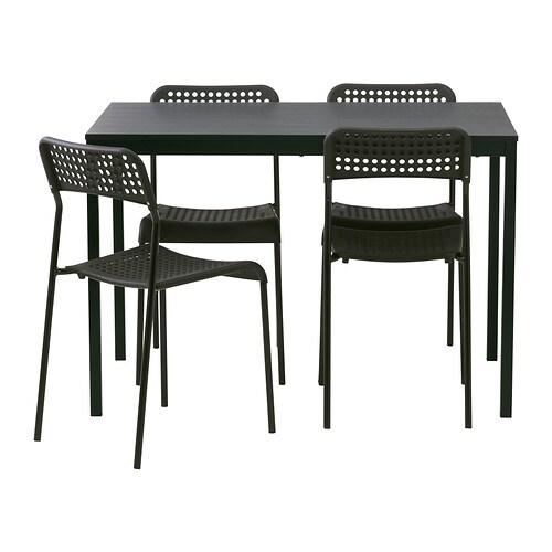 TÄRENDÖ/ADDE Pöytä + 4 tuolia , musta Pituus: 110 cm