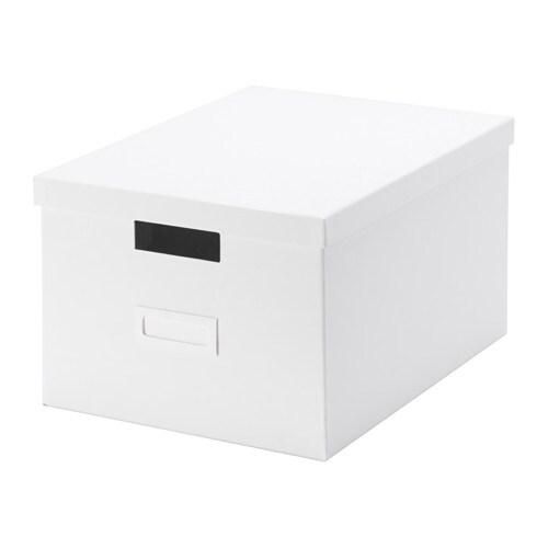 TJENA Kannellinen laatikko  valkoinen  IKEA