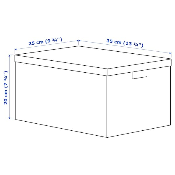 TJENA Kannellinen säilytyslaatikko, kukka/vaaleanvihreä, 25x35x20 cm