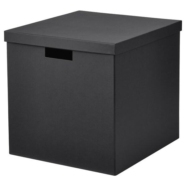 TJENA Kannellinen säilytyslaatikko, musta, 32x35x32 cm