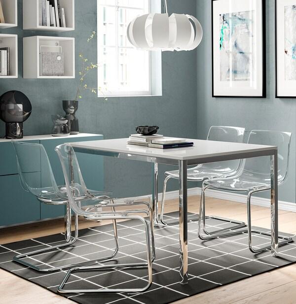 TORSBY Pöytä, kromattu/korkeakiilto valkoinen, 135x85 cm