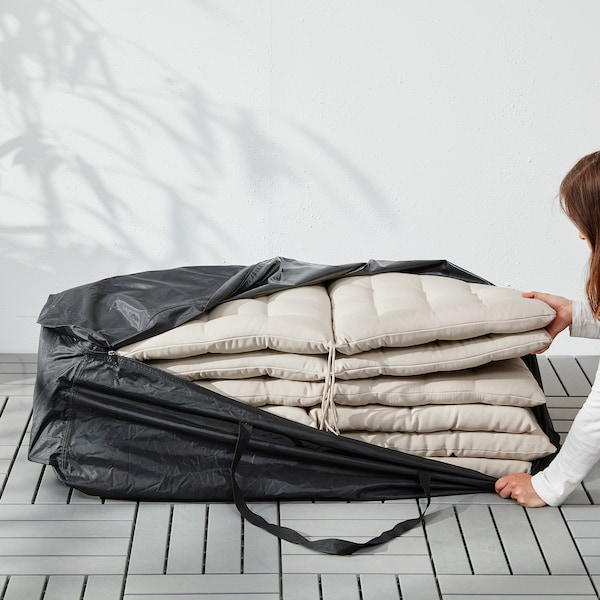 TOSTERÖ säilytyslaukku tyynyille musta 116 cm 49 cm 35 cm