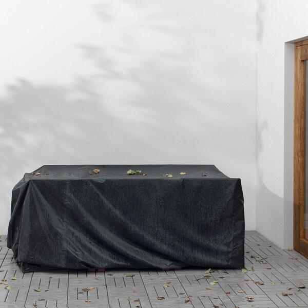 TOSTERÖ Suojapeite pöytäryhmälle, musta, 215x135 cm