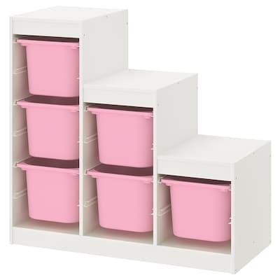 TROFAST Säilytyskokonaisuus, valkoinen/roosa, 99x44x94 cm