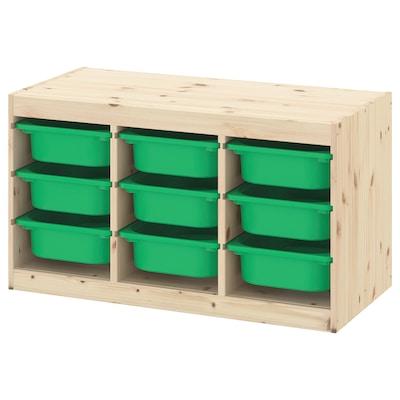 TROFAST säilytyskokonaisuus+laatikot vaaleaksi petsattu mänty/vihreä 94 cm 44 cm 52 cm