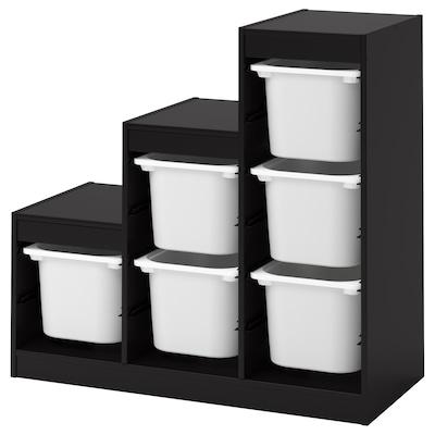 TROFAST säilytyskokonaisuus+laatikot musta/valkoinen 99 cm 44 cm 94 cm
