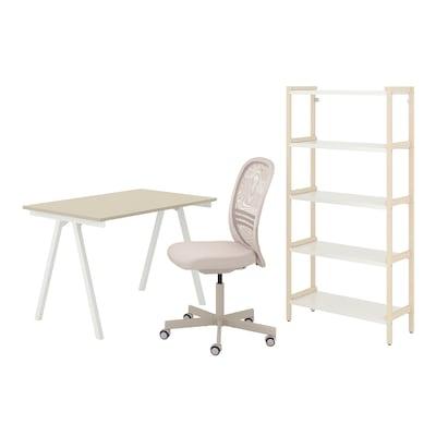 TROTTEN/FLINTAN / EKENABBEN Työpöytä- ja säilytyskokonaisuus, ja pyörivä tuoli beige/valkoinen