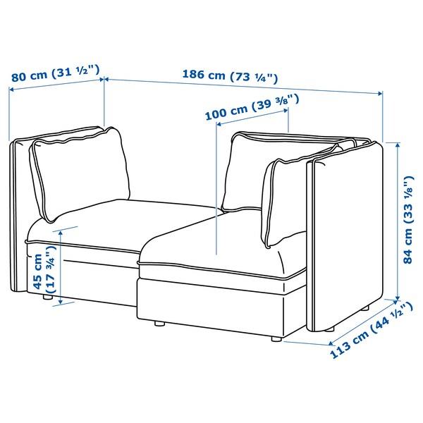 VALLENTUNA 2:n istuttava moduulisohva, + säilytystilaa/Murum valkoinen