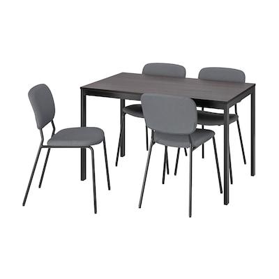 VANGSTA / KARLJAN Pöytä + 4 tuolia, musta tummanruskea/Kabusa tummanharmaa, 120/180 cm