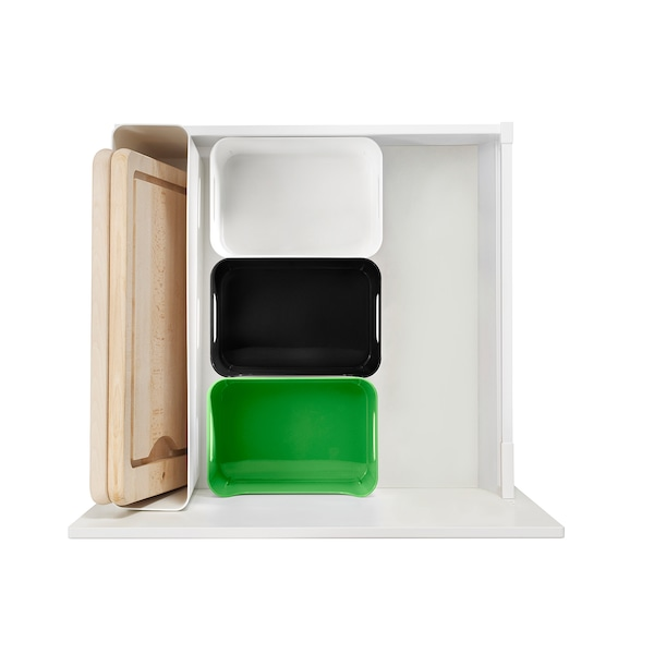 VARIERA Säilytyslaatikko, korkeakiilto/valkoinen, 50x12 cm