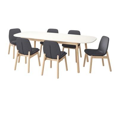 VEDBO / VEDBO Pöytä + 6 tuolia, valkoinen/koivu, 240x105 cm