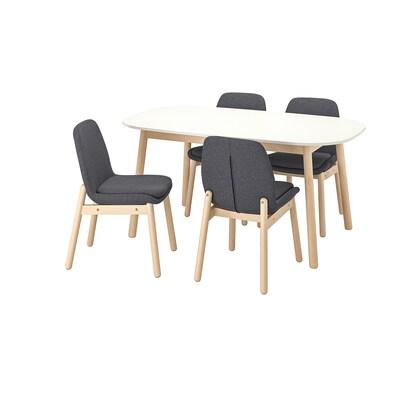 VEDBO / VEDBO pöytä + 4 tuolia valkoinen/koivu 160 cm 95 cm