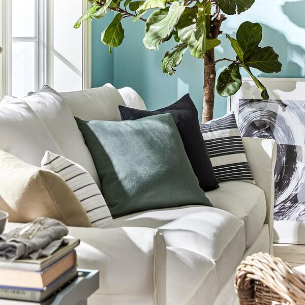 VIGDIS Tyynynpäällinen, haaleanvihreä, 50x50 cm
