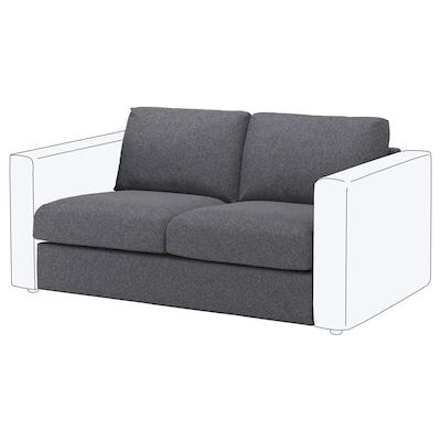 VIMLE 2:n istuttava sohva Gunnared keskiharmaa 80 cm 66 cm 141 cm 98 cm 4 cm 141 cm 55 cm 45 cm