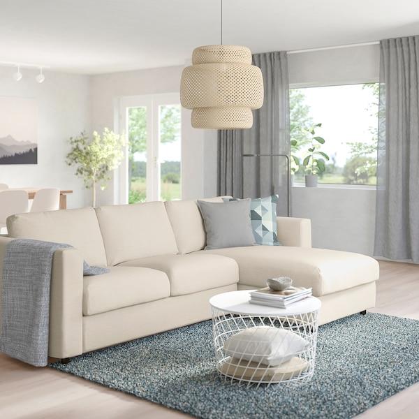 VIMLE 3:n istuttava sohva divaanin kanssa/Gunnared beige 83 cm 68 cm 164 cm 252 cm 98 cm 125 cm 6 cm 15 cm 68 cm 222 cm 55 cm 48 cm