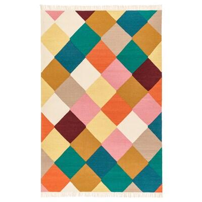 VINDERÖD matto, kudottu käsin tehty monivärinen 195 cm 133 cm 4 mm 2.59 m² 1400 g/m²
