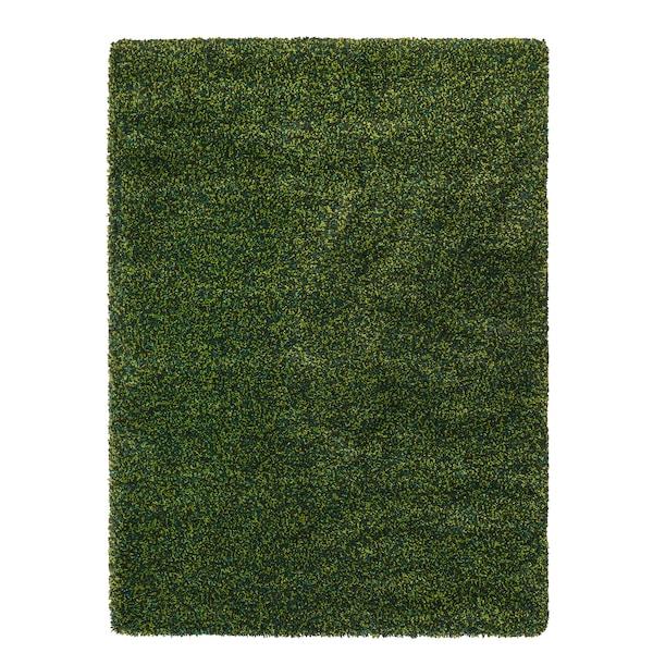 VINDUM Matto, korkea nukka, vihreä, 133x180 cm