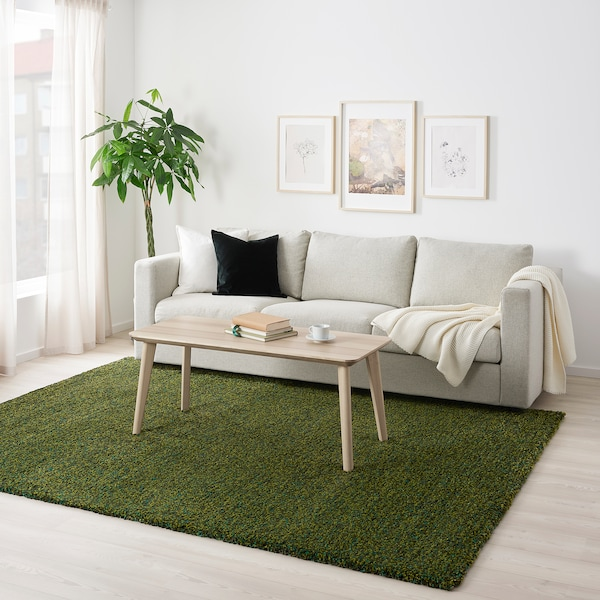 VINDUM Matto, korkea nukka, vihreä, 200x270 cm